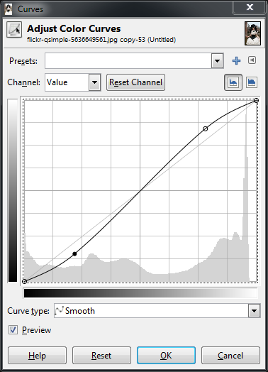 A slight 'S' curve