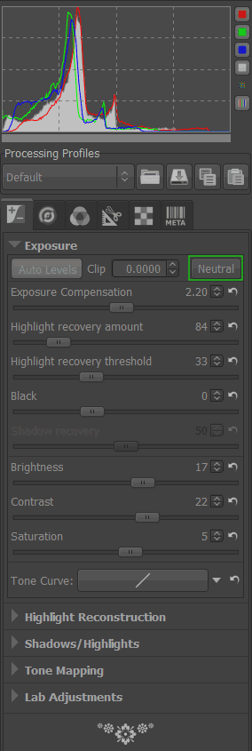 Auto Levels values on the Exposure panel