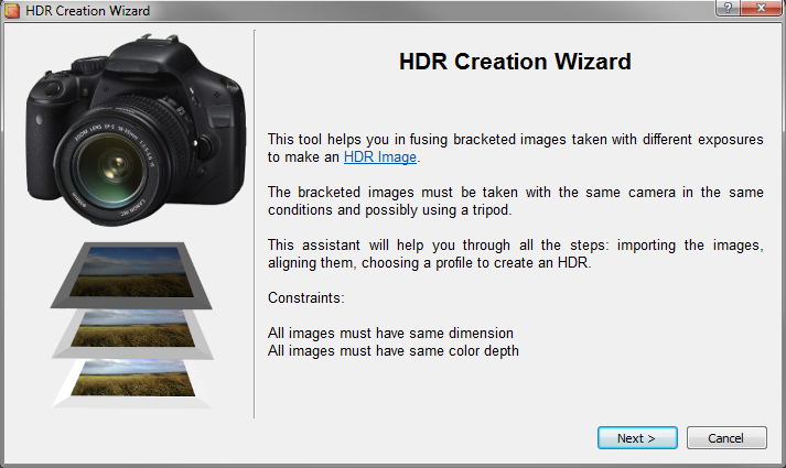 LuminanceHDR wizard splash screen