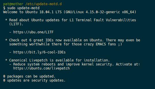 Pat David: Ubuntu SSH Ads (motd)